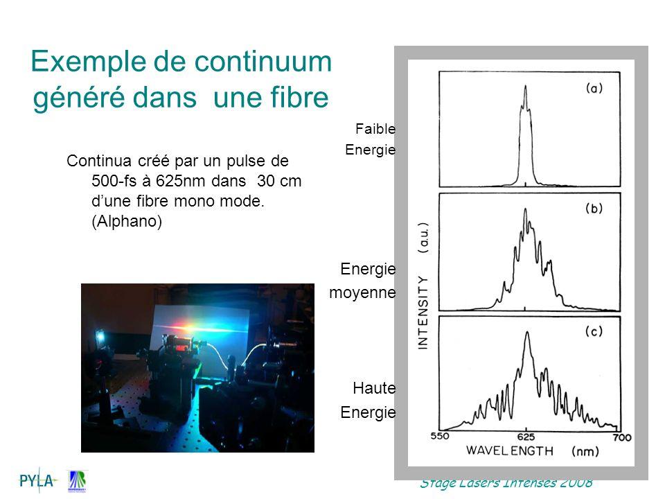Stage Lasers Intenses 2008 Continua créé par un pulse de 500-fs à 625nm dans 30 cm dune fibre mono mode.