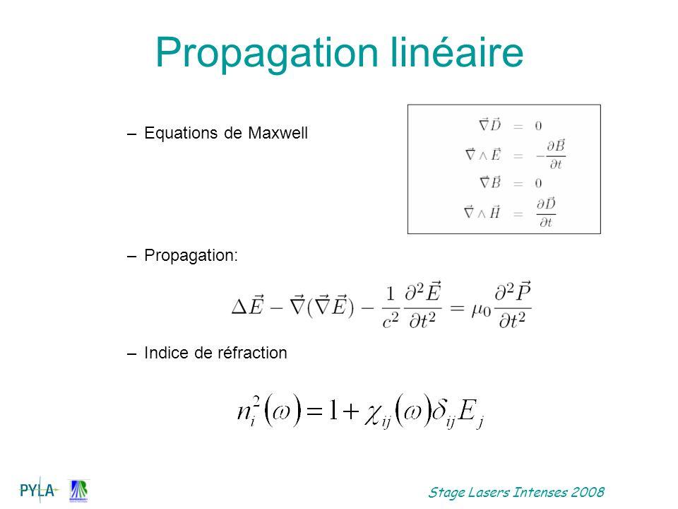 Stage Lasers Intenses 2008 Propagation milieu isotrope La susceptibilité est scalaire D et E colinéaires Solution: k( )= n( ) /c Fréquence Indice de réfracton