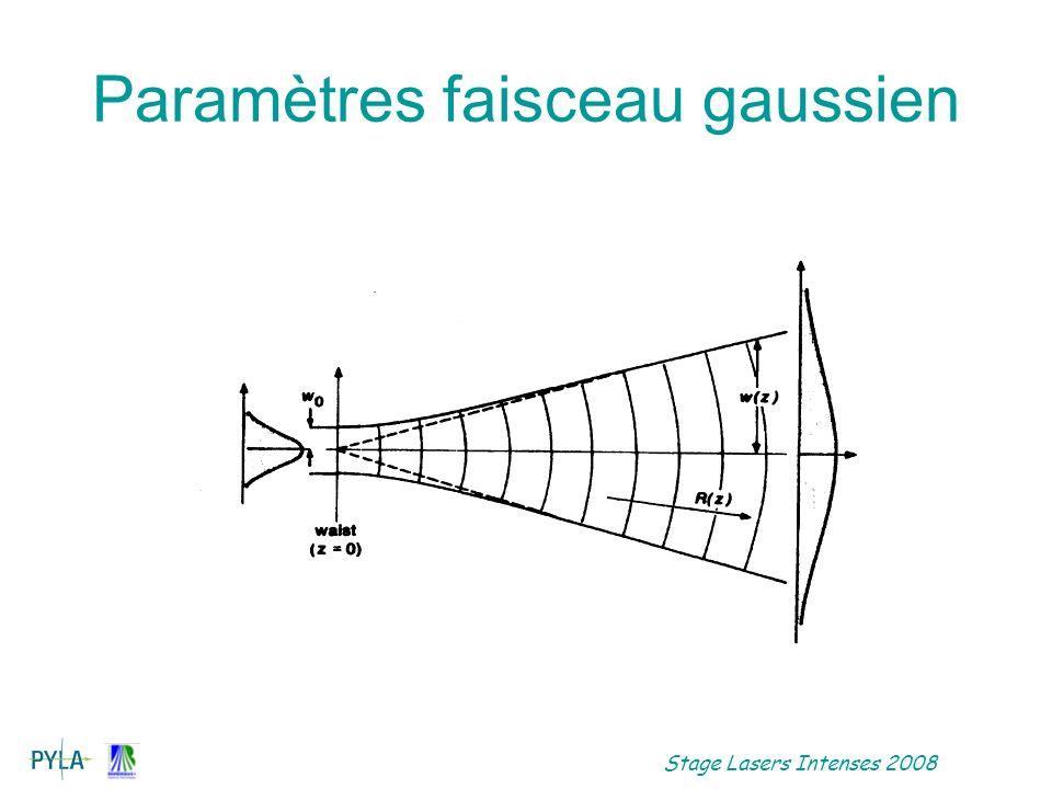 Stage Lasers Intenses 2008 Propagation dimpulsion laser Expression du champ: Equation de propagation premier ordre dans un milieu dispersif: Vg=1/ko Deuxième ordre similaire propagation spatiale