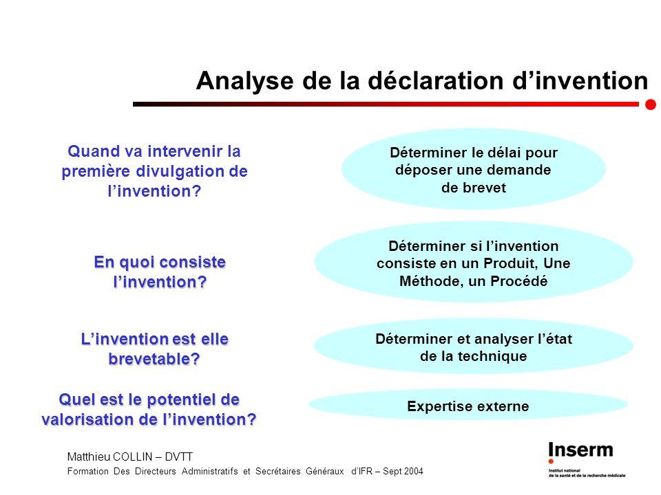 Matthieu COLLIN – DVTT Formation Des Directeurs Administratifs et Secrétaires Généraux dIFR – Sept 2004 Analyse de la déclaration dinvention Quand va