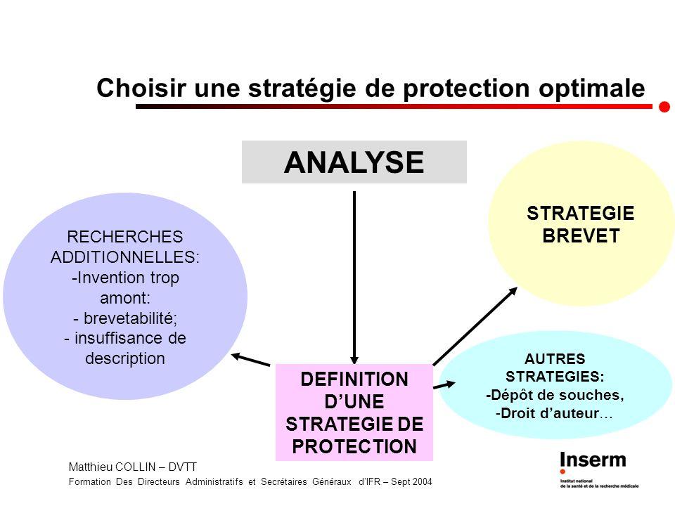 Matthieu COLLIN – DVTT Formation Des Directeurs Administratifs et Secrétaires Généraux dIFR – Sept 2004 Choisir une stratégie de protection optimale A
