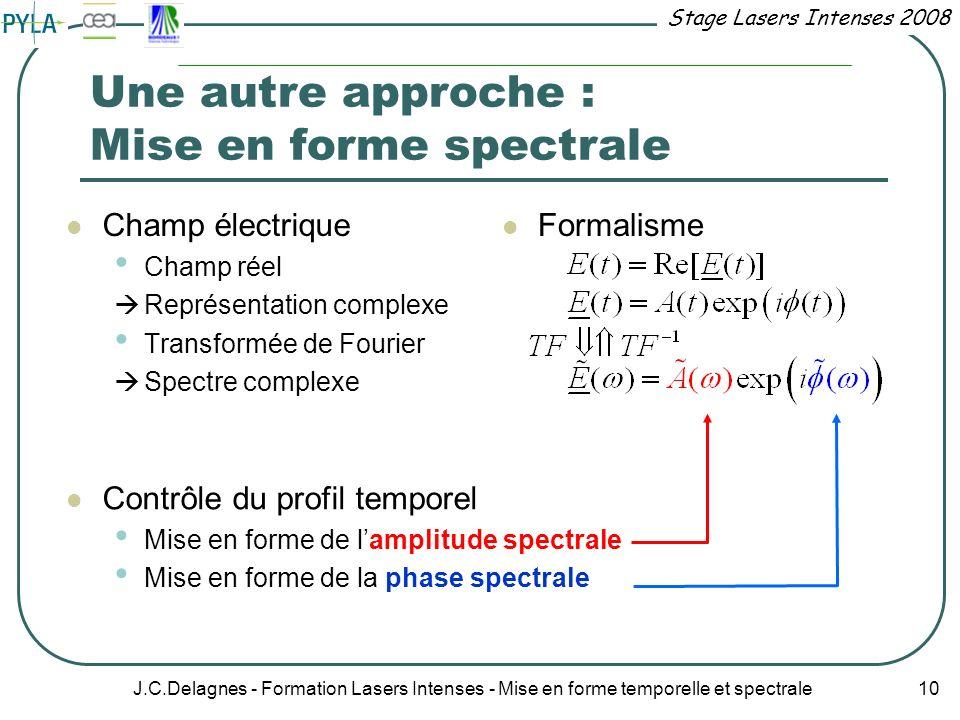 Stage Lasers Intenses 2008 J.C.Delagnes - Formation Lasers Intenses - Mise en forme temporelle et spectrale 10 Une autre approche : Mise en forme spec
