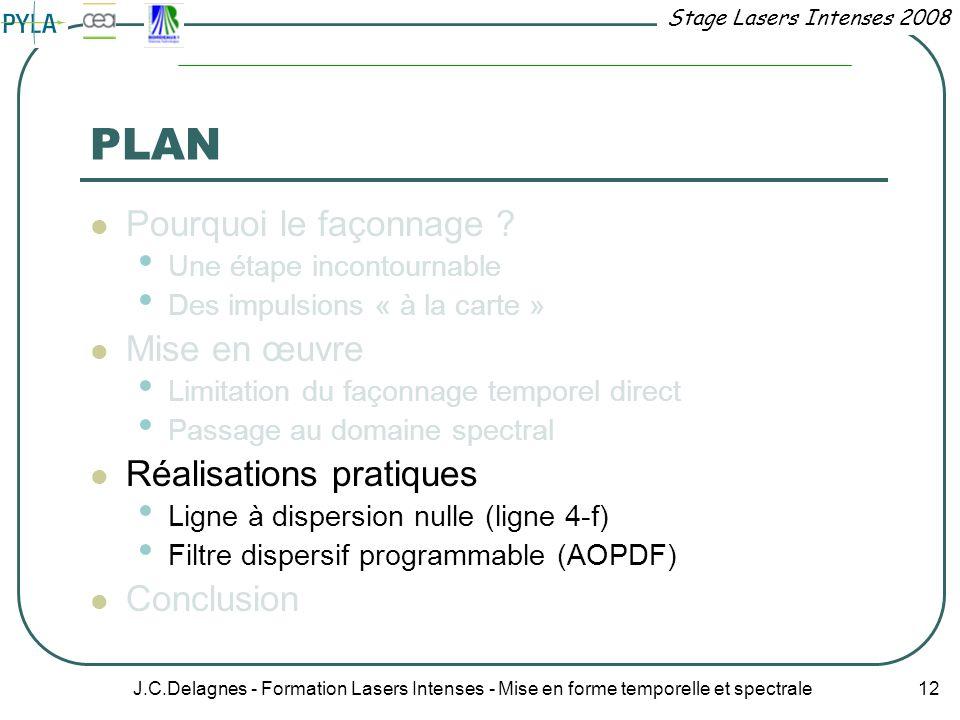 Stage Lasers Intenses 2008 J.C.Delagnes - Formation Lasers Intenses - Mise en forme temporelle et spectrale 12 PLAN Pourquoi le façonnage ? Une étape