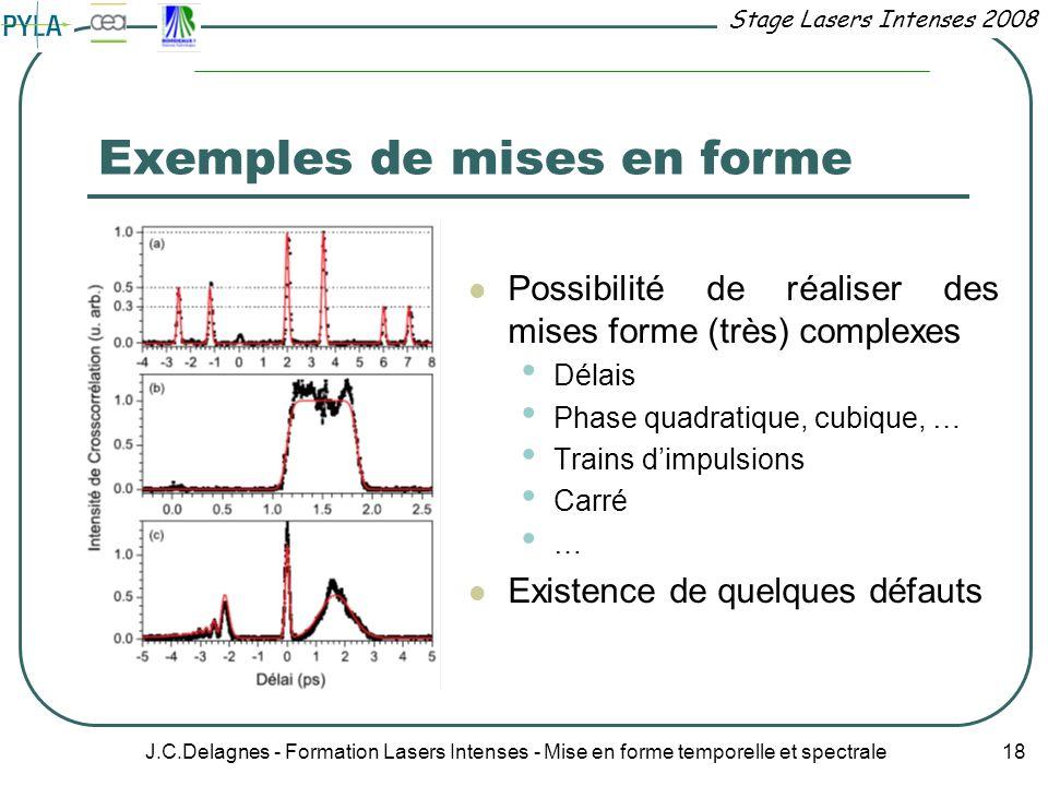 Stage Lasers Intenses 2008 J.C.Delagnes - Formation Lasers Intenses - Mise en forme temporelle et spectrale 18 Exemples de mises en forme Possibilité