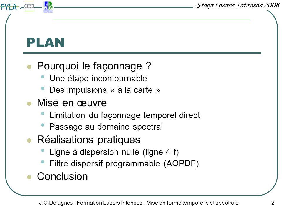 Stage Lasers Intenses 2008 J.C.Delagnes - Formation Lasers Intenses - Mise en forme temporelle et spectrale 2 PLAN Pourquoi le façonnage ? Une étape i