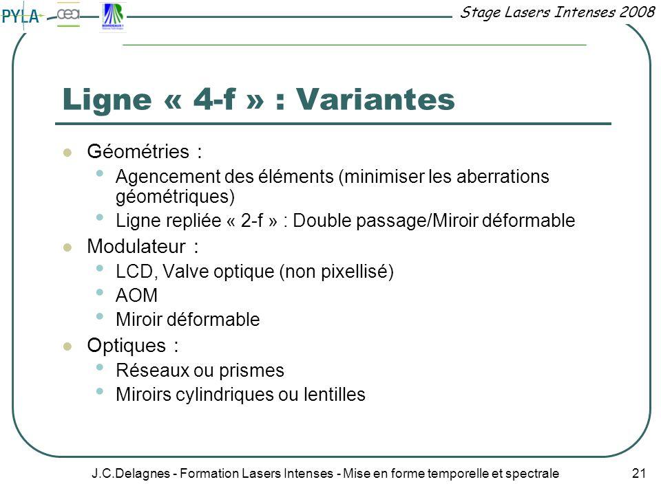 Stage Lasers Intenses 2008 J.C.Delagnes - Formation Lasers Intenses - Mise en forme temporelle et spectrale 21 Ligne « 4-f » : Variantes Géométries :