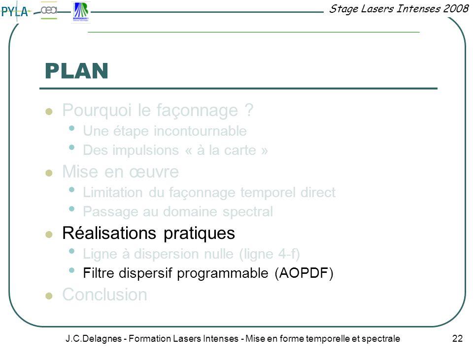 Stage Lasers Intenses 2008 J.C.Delagnes - Formation Lasers Intenses - Mise en forme temporelle et spectrale 22 PLAN Pourquoi le façonnage ? Une étape