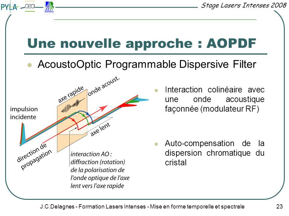 Stage Lasers Intenses 2008 J.C.Delagnes - Formation Lasers Intenses - Mise en forme temporelle et spectrale 23 Une nouvelle approche : AOPDF AcoustoOp