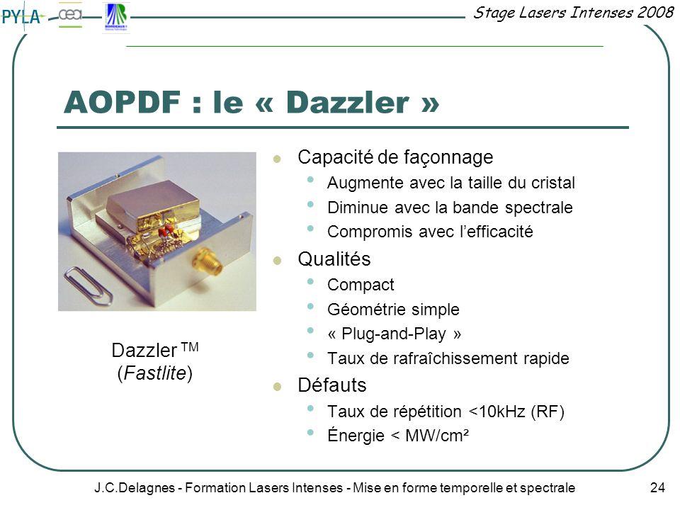 Stage Lasers Intenses 2008 J.C.Delagnes - Formation Lasers Intenses - Mise en forme temporelle et spectrale 24 AOPDF : le « Dazzler » Capacité de faço