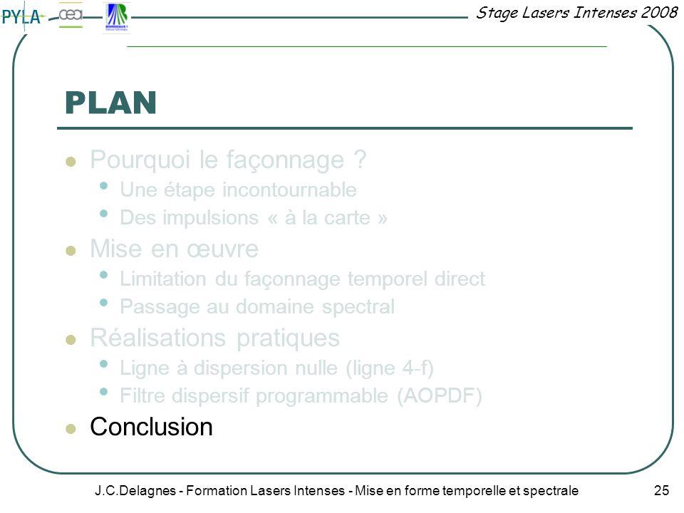 Stage Lasers Intenses 2008 J.C.Delagnes - Formation Lasers Intenses - Mise en forme temporelle et spectrale 25 PLAN Pourquoi le façonnage ? Une étape