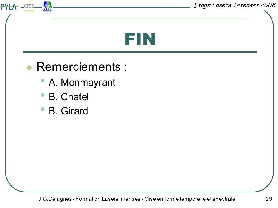 Stage Lasers Intenses 2008 J.C.Delagnes - Formation Lasers Intenses - Mise en forme temporelle et spectrale 29 FIN Remerciements : A. Monmayrant B. Ch