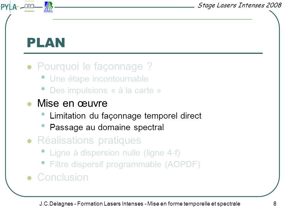 Stage Lasers Intenses 2008 J.C.Delagnes - Formation Lasers Intenses - Mise en forme temporelle et spectrale 8 PLAN Pourquoi le façonnage ? Une étape i