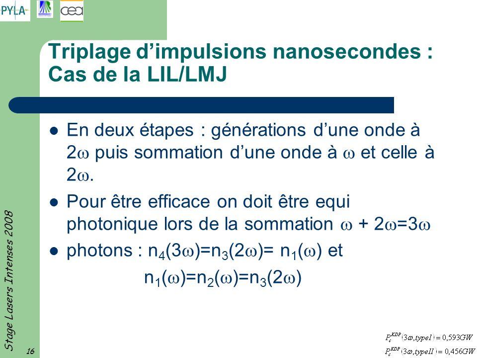 Stage Lasers Intenses 2008 16 Triplage dimpulsions nanosecondes : Cas de la LIL/LMJ En deux étapes : générations dune onde à 2 puis sommation dune ond