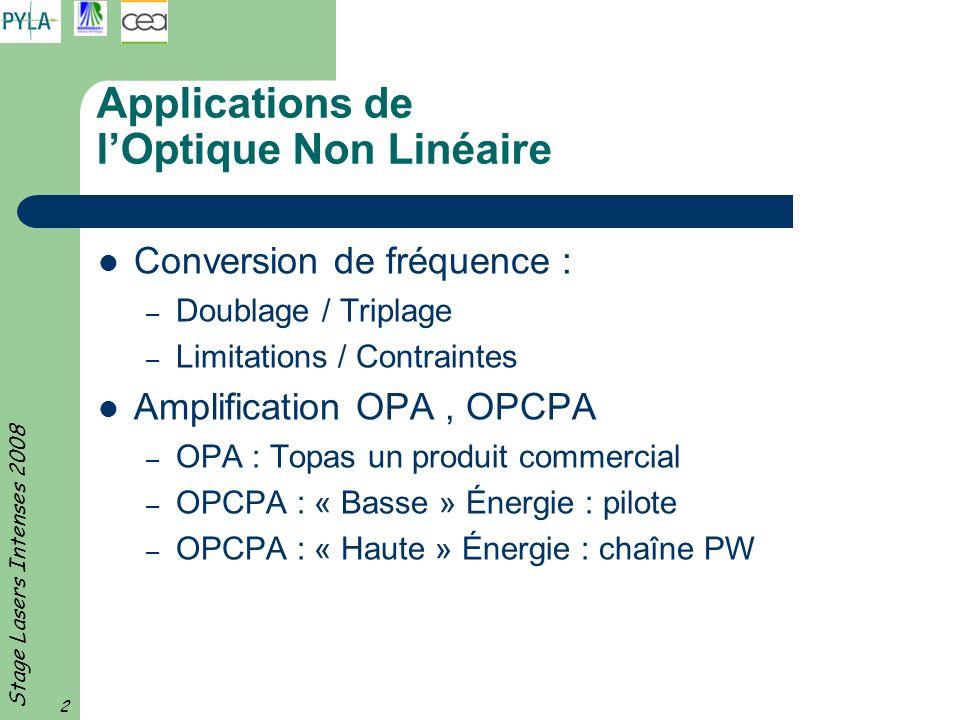 Stage Lasers Intenses 2008 2 Applications de lOptique Non Linéaire Conversion de fréquence : – Doublage / Triplage – Limitations / Contraintes Amplifi