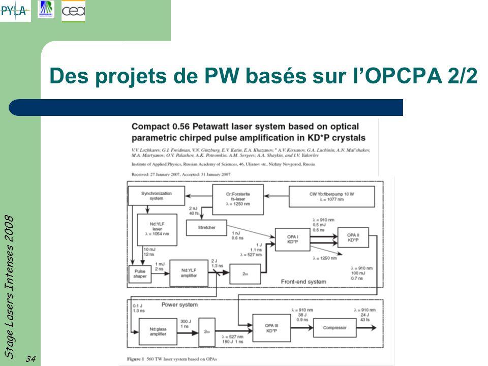 Stage Lasers Intenses 2008 34 Des projets de PW basés sur lOPCPA 2/2