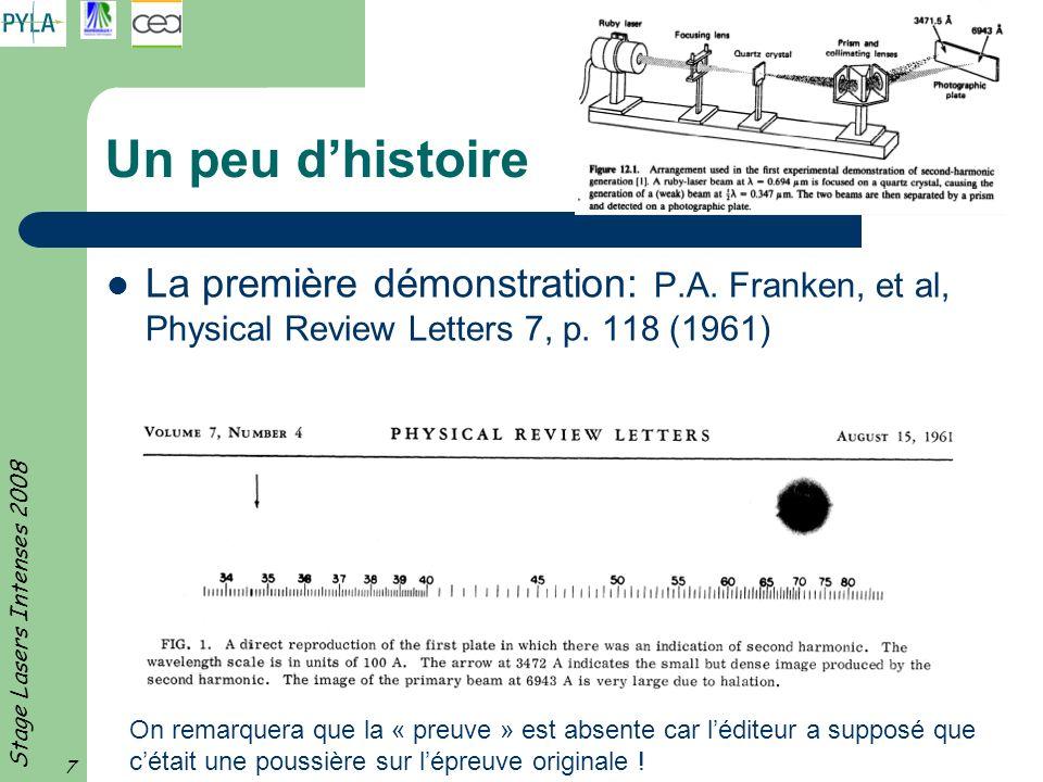 Stage Lasers Intenses 2008 7 Un peu dhistoire La première démonstration: P.A. Franken, et al, Physical Review Letters 7, p. 118 (1961) On remarquera q