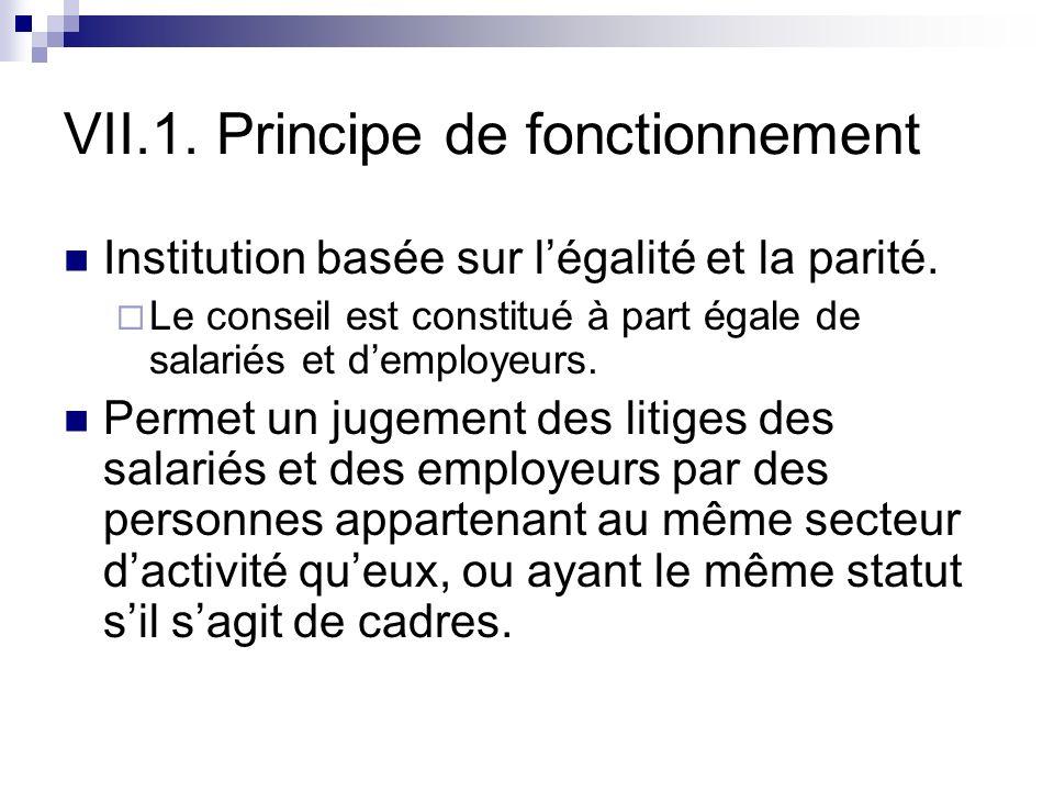 VII.1. Principe de fonctionnement Institution basée sur légalité et la parité. Le conseil est constitué à part égale de salariés et demployeurs. Perme