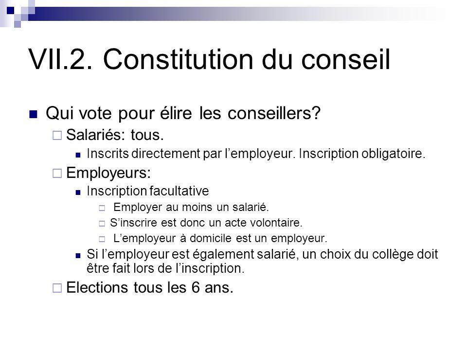 VII.2. Constitution du conseil Qui vote pour élire les conseillers? Salariés: tous. Inscrits directement par lemployeur. Inscription obligatoire. Empl