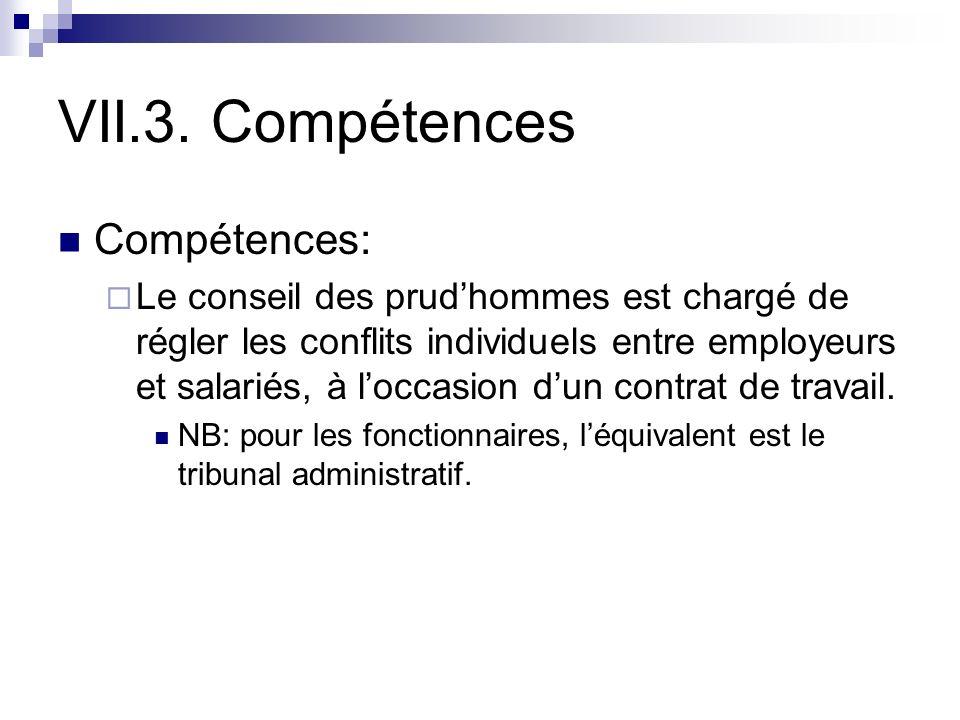 VII.3. Compétences Compétences: Le conseil des prudhommes est chargé de régler les conflits individuels entre employeurs et salariés, à loccasion dun