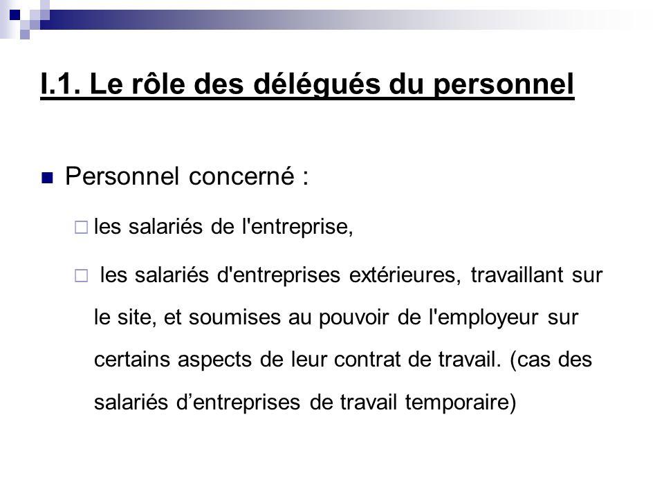 I.1. Le rôle des délégués du personnel Personnel concerné : les salariés de l'entreprise, les salariés d'entreprises extérieures, travaillant sur le s