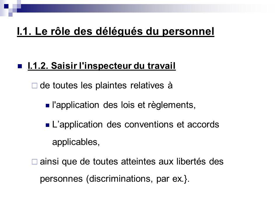 I.1. Le rôle des délégués du personnel I.1.2. Saisir l'inspecteur du travail de toutes les plaintes relatives à l'application des lois et règlements,