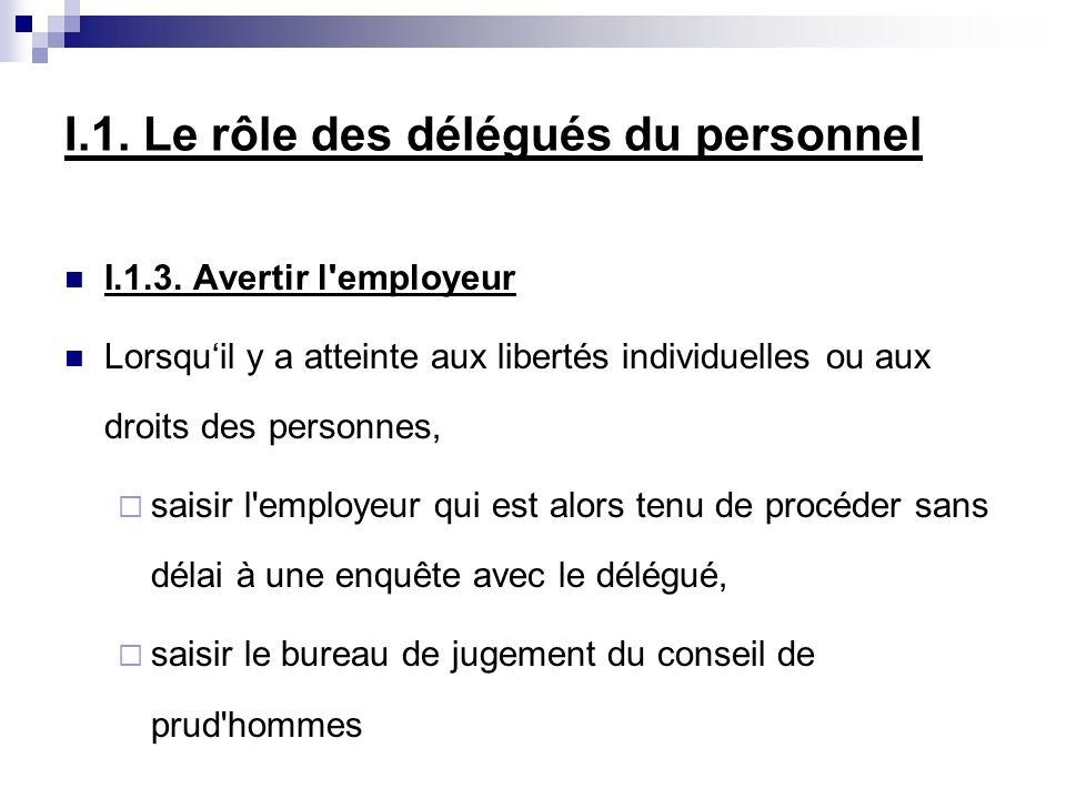 I.1. Le rôle des délégués du personnel I.1.3. Avertir l'employeur Lorsquil y a atteinte aux libertés individuelles ou aux droits des personnes, saisir