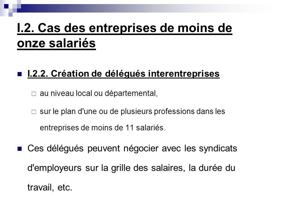 I.2. Cas des entreprises de moins de onze salariés I.2.2. Création de délégués interentreprises au niveau local ou départemental, sur le plan d'une ou