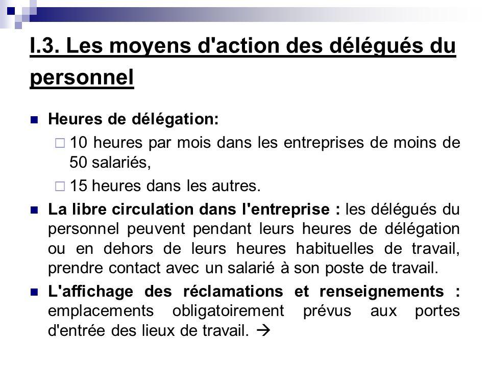 I.3. Les moyens d'action des délégués du personnel Heures de délégation: 10 heures par mois dans les entreprises de moins de 50 salariés, 15 heures da
