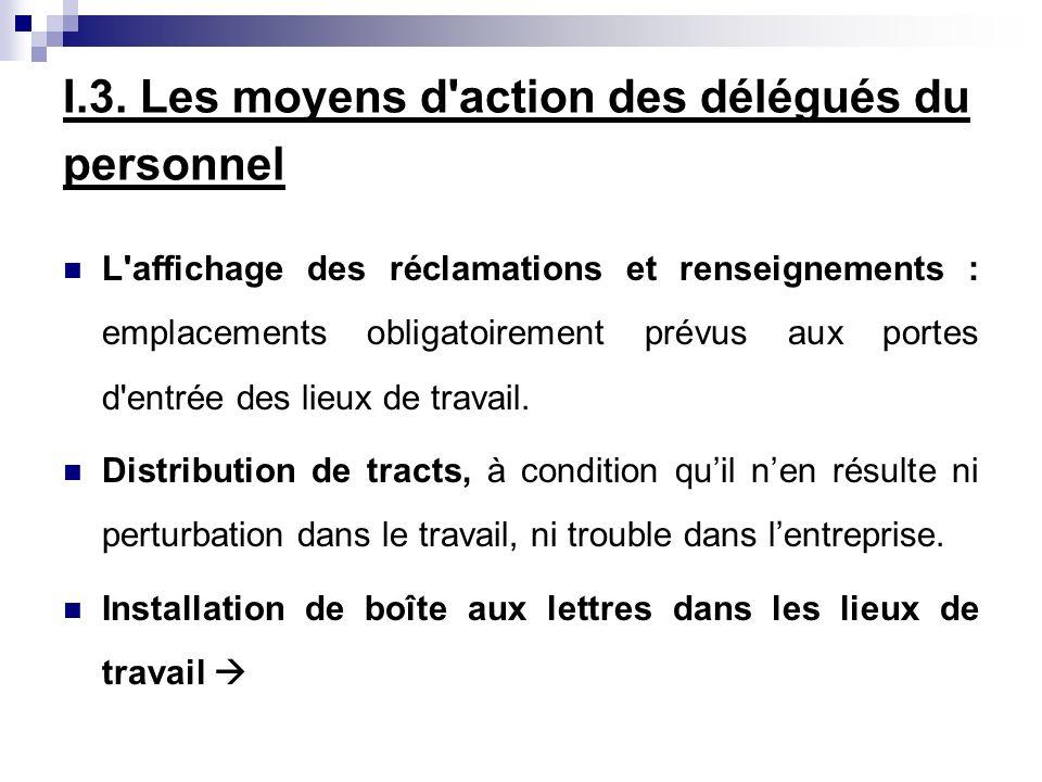 I.3. Les moyens d'action des délégués du personnel L'affichage des réclamations et renseignements : emplacements obligatoirement prévus aux portes d'e