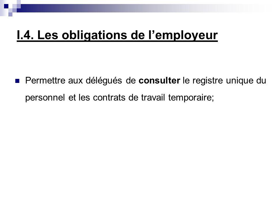 Permettre aux délégués de consulter le registre unique du personnel et les contrats de travail temporaire; I.4. Les obligations de lemployeur