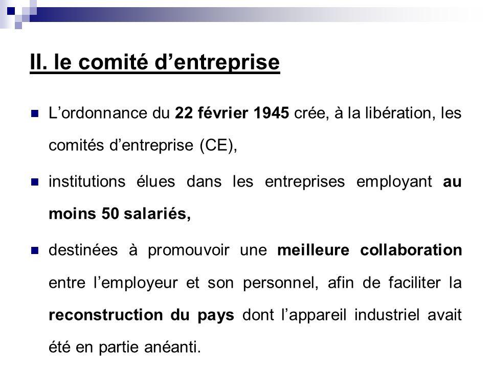 II. le comité dentreprise Lordonnance du 22 février 1945 crée, à la libération, les comités dentreprise (CE), institutions élues dans les entreprises
