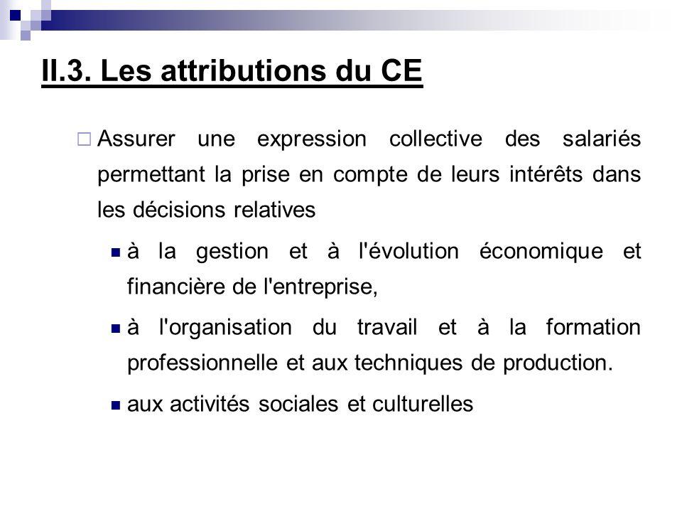 II.3. Les attributions du CE Assurer une expression collective des salariés permettant la prise en compte de leurs intérêts dans les décisions relativ