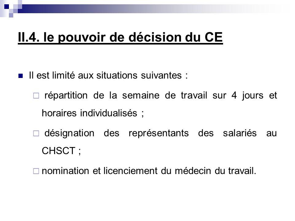II.4. le pouvoir de décision du CE Il est limité aux situations suivantes : répartition de la semaine de travail sur 4 jours et horaires individualisé