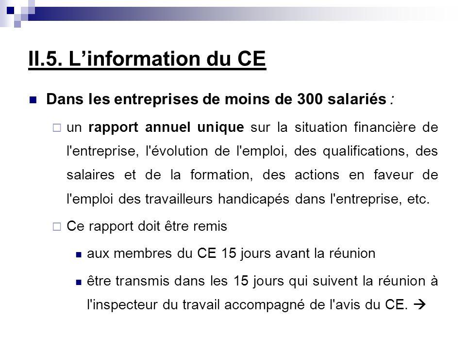 II.5. Linformation du CE Dans les entreprises de moins de 300 salariés : un rapport annuel unique sur la situation financière de l'entreprise, l'évolu