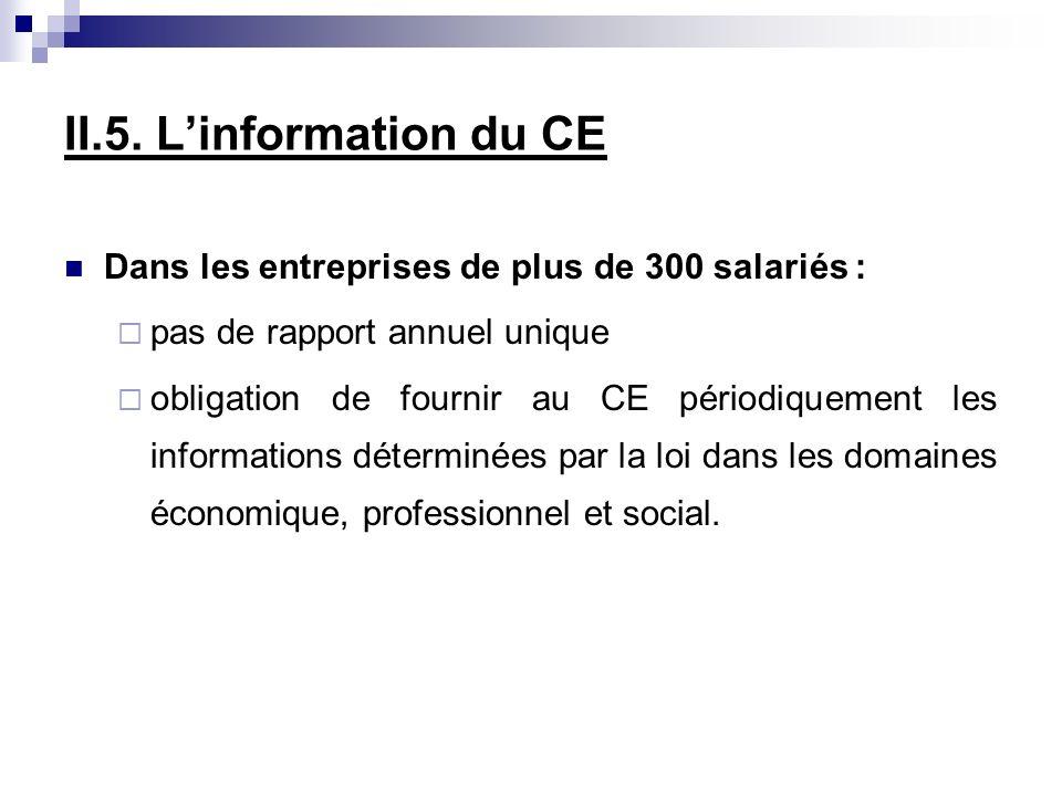 II.5. Linformation du CE Dans les entreprises de plus de 300 salariés : pas de rapport annuel unique obligation de fournir au CE périodiquement les in