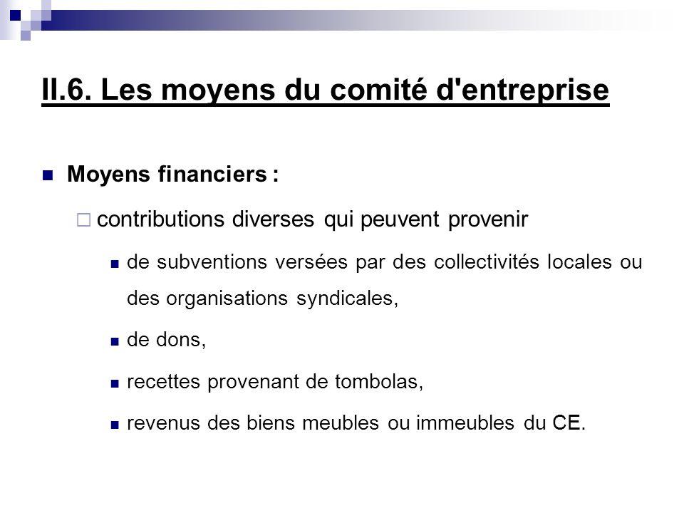 II.6. Les moyens du comité d'entreprise Moyens financiers : contributions diverses qui peuvent provenir de subventions versées par des collectivités l