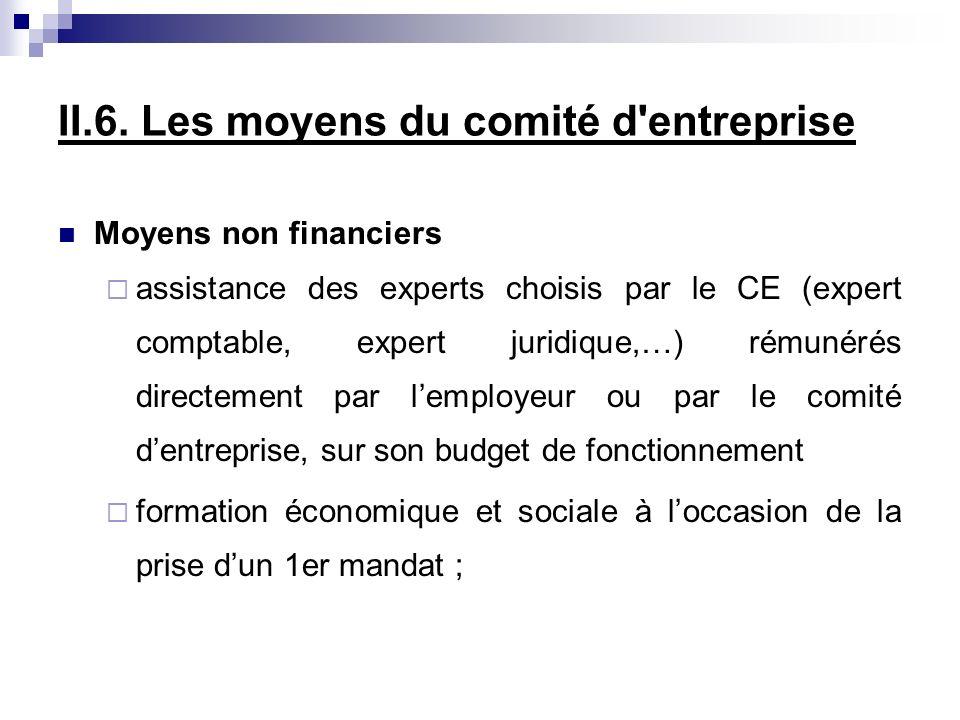 II.6. Les moyens du comité d'entreprise Moyens non financiers assistance des experts choisis par le CE (expert comptable, expert juridique,…) rémunéré