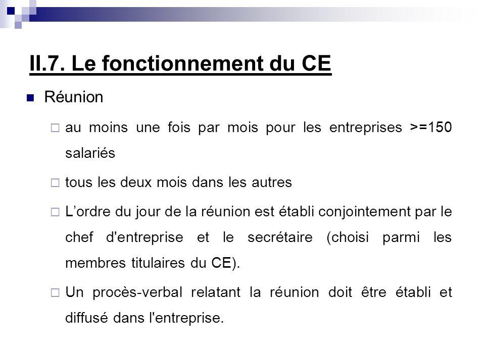 II.7. Le fonctionnement du CE Réunion au moins une fois par mois pour les entreprises >=150 salariés tous les deux mois dans les autres Lordre du jour
