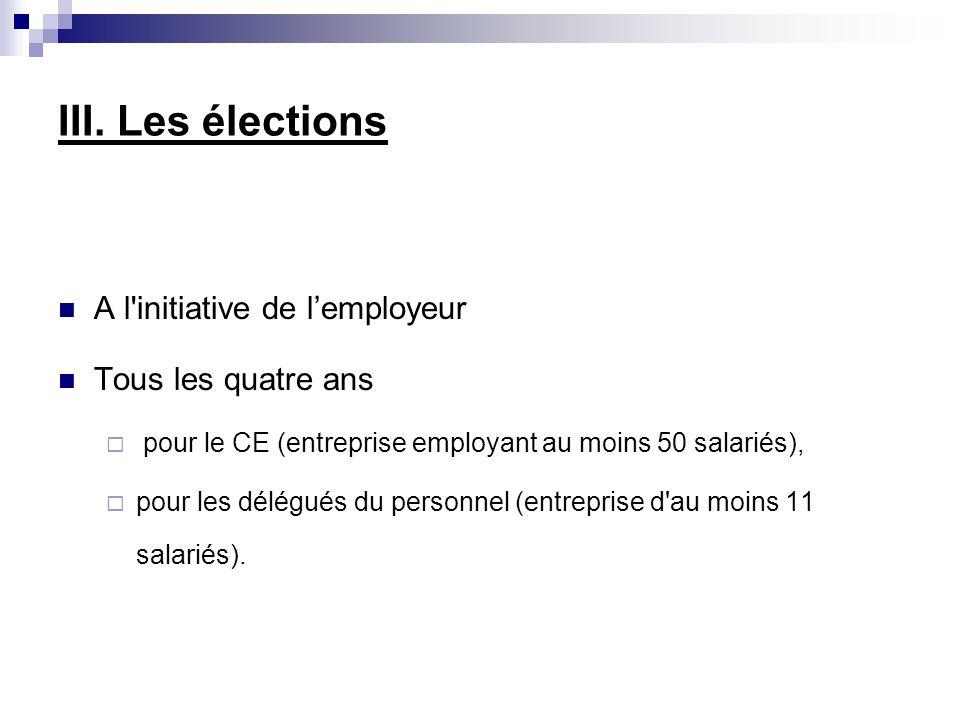 A l'initiative de lemployeur Tous les quatre ans pour le CE (entreprise employant au moins 50 salariés), pour les délégués du personnel (entreprise d'