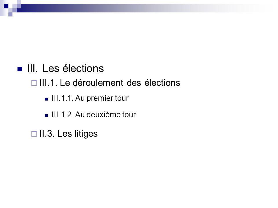 III. Les élections III.1. Le déroulement des élections III.1.1. Au premier tour III.1.2. Au deuxième tour II.3. Les litiges