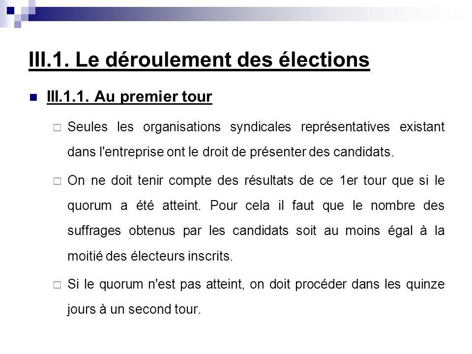III.1. Le déroulement des élections III.1.1. Au premier tour Seules les organisations syndicales représentatives existant dans l'entreprise ont le dro