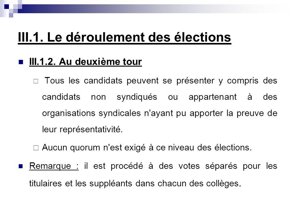 III.1. Le déroulement des élections III.1.2. Au deuxième tour Tous les candidats peuvent se présenter y compris des candidats non syndiqués ou apparte