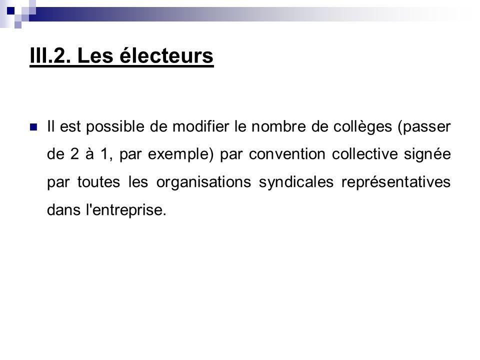 III.2. Les électeurs Il est possible de modifier le nombre de collèges (passer de 2 à 1, par exemple) par convention collective signée par toutes les