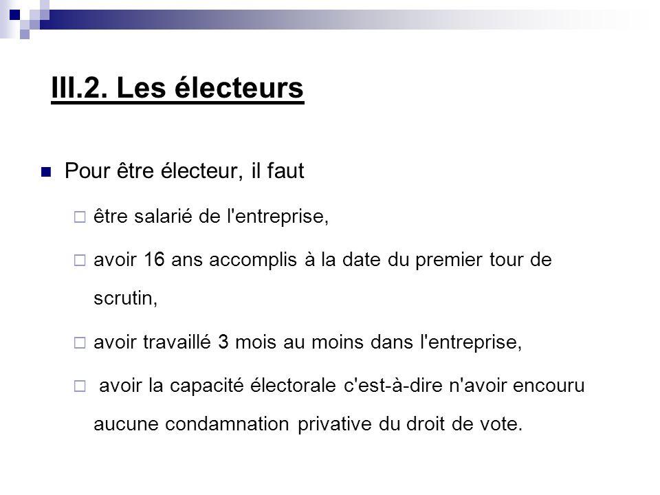 III.2. Les électeurs Pour être électeur, il faut être salarié de l'entreprise, avoir 16 ans accomplis à la date du premier tour de scrutin, avoir trav