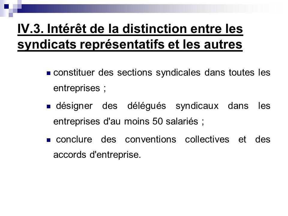 IV.3. Intérêt de la distinction entre les syndicats représentatifs et les autres constituer des sections syndicales dans toutes les entreprises ; dési