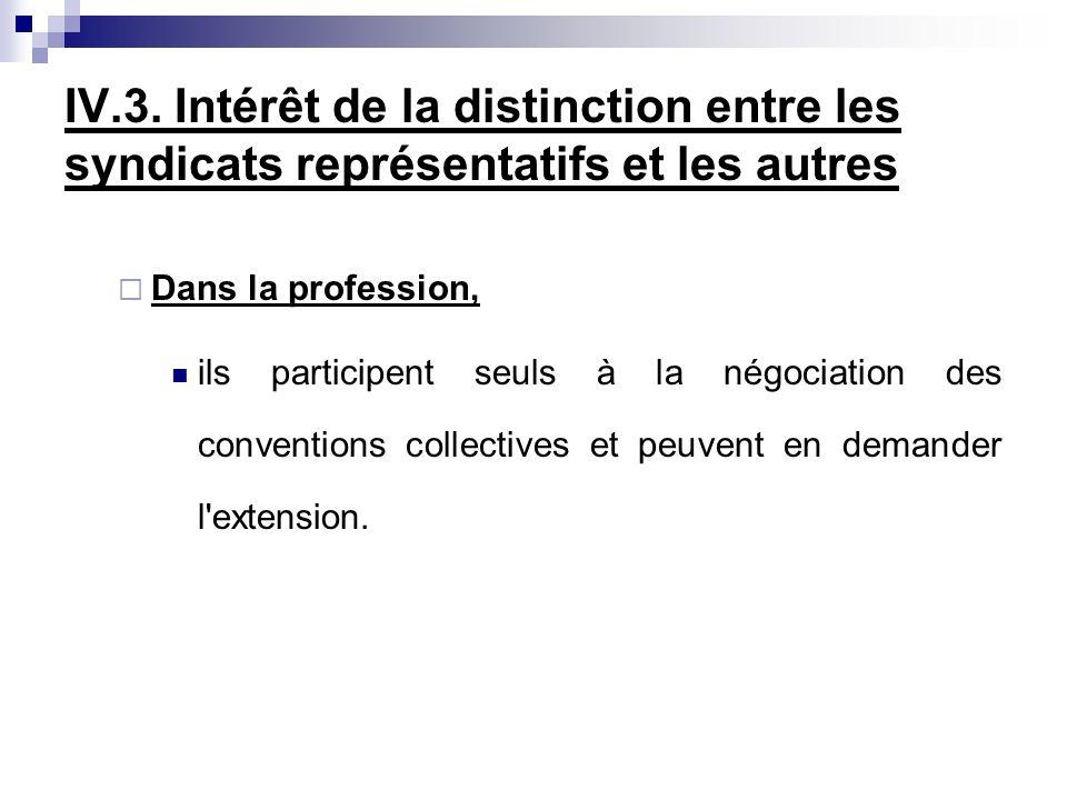 IV.3. Intérêt de la distinction entre les syndicats représentatifs et les autres Dans la profession, ils participent seuls à la négociation des conven