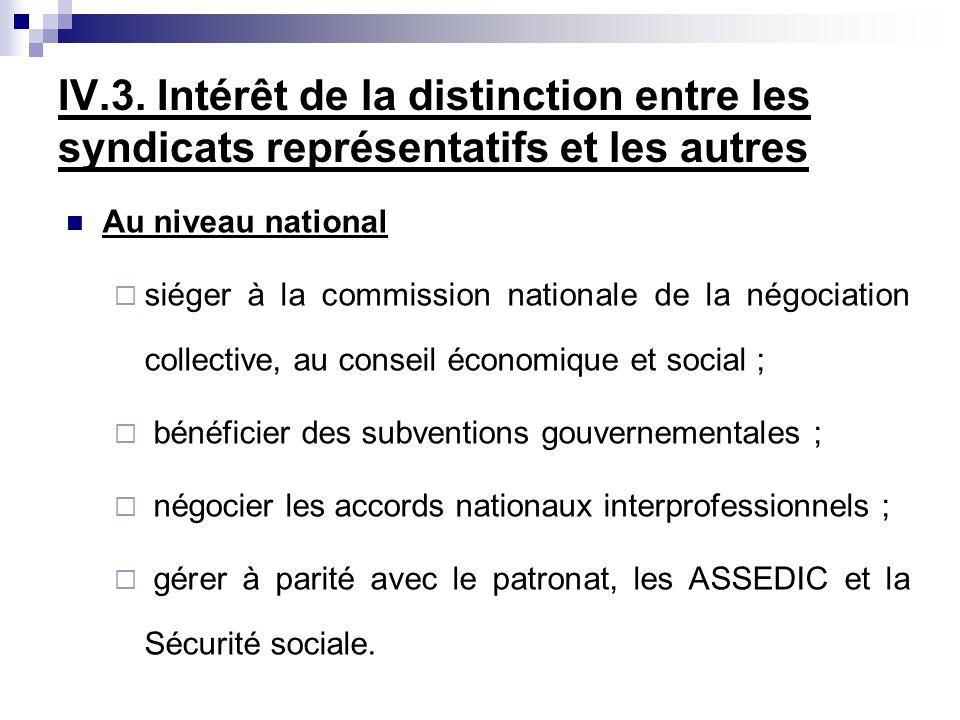 IV.3. Intérêt de la distinction entre les syndicats représentatifs et les autres Au niveau national siéger à la commission nationale de la négociation
