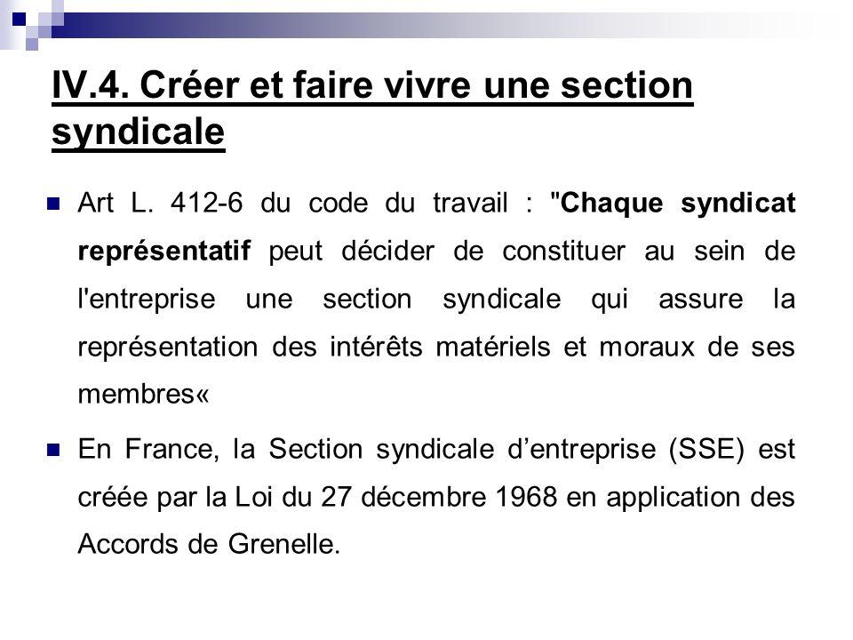 IV.4. Créer et faire vivre une section syndicale Art L. 412-6 du code du travail :