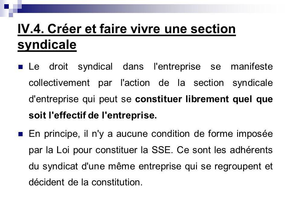 IV.4. Créer et faire vivre une section syndicale Le droit syndical dans l'entreprise se manifeste collectivement par l'action de la section syndicale