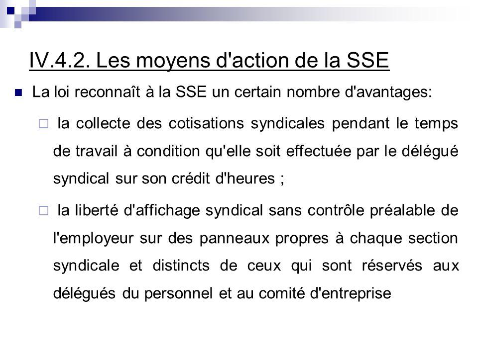 IV.4.2. Les moyens d'action de la SSE La loi reconnaît à la SSE un certain nombre d'avantages: la collecte des cotisations syndicales pendant le temps